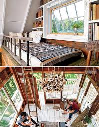 three story tree house branches from the tree extend up into the