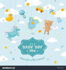 Baby Shower Card Invitations Baby Boy Shower Card Invitation Template Stock Vector 539738677