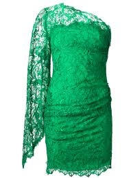 emilio pucci one shoulder lace dress in green lyst