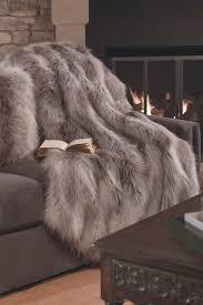 Faux Fox Fur Throw Donna Salyers U0027 Fabulous Furs Faux Fur Throw Silver Fox Hautelook
