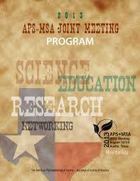 2013 aps msa joint meeting program book by scientific societies