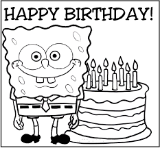 happy birthday spongebob coloring pages kids ghz