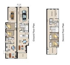 Narrow Block Floor Plans Dual Occupancy Home Designs Narrow Blocks House Design Plans