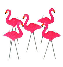 retro yard pink flamingo candles lawn ornament birthday