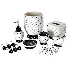 White Bathroom Accessories Ceramic by Black White Polka Dot Bathroom Accessory Tissue Box Wastebasket
