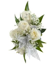 White Rose Wrist Corsage Decorated Rose Corsage White Royer U0027s Flowers And Gifts