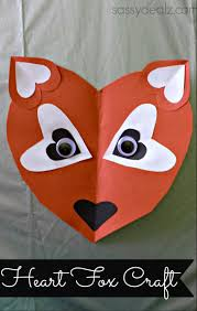 paper heart fox craft for kids crafty morning
