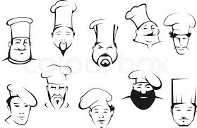 chef or cook characters in cartoon sketch style in toques with