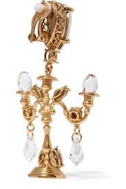 Gunmetal Chandelier Earrings Dolce And Gabbana New Runway Gold Swarovski Crystal Candle