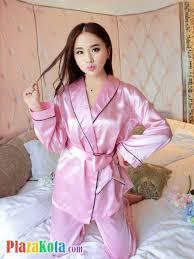 Baju Tidur jual bt010 baju tidur pink lengan panjang ikat pinggang celana