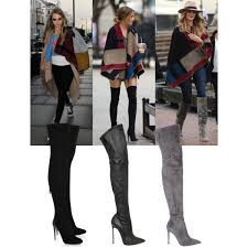 womens boots the knee designer pointed suede leather boots