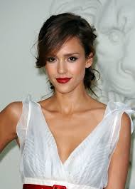 swing hairstyles jessica alba messy twisted updo with side swing bangs hairstyles