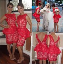 aliexpress com buy red lace short bridesmaid dresses gold peach