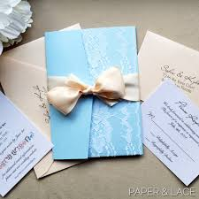 light blue wedding invitations sofia powder blue and blush lace wedding invitation lace pocket