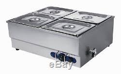4 pan counter top warmer bain marie buffet steam table food warmer