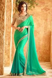 color designer intriguing green color designer saree with net unstitched blouse