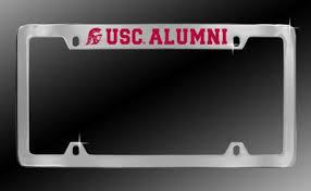 usc alumni license plate cheap usc chrome metal car license plate frame usc alumni