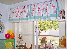 interior vintage kitchen window treatment with blue red floral