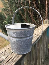 vintage galvanized metal watering can long spout smaller size