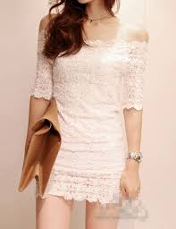 arrival boat collar off shoulders half sleeve solid color lace dress