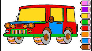 jeep cartoon drawing jeep coloring page drawing car for kids youtube