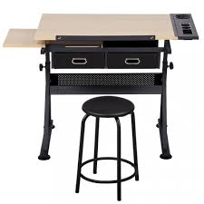 Drafting Table And Chair Set Office Drawing Desk Station Adjustable Drafting Table Set W Stool