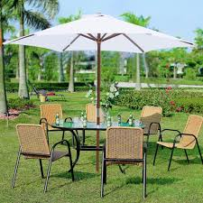 7 Foot Patio Umbrella by 8ft 6 Ribs Patio Wood Umbrella Wooden Pole Outdoor Garden Pool