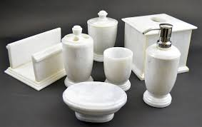 marble bathroom set white marble 7 piece bathroom accessories set