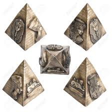 diffetent views on decorative small pyramid with