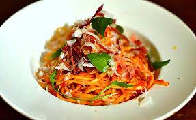 recette cuisine italienne gastronomique linguine au speck roquette et parmesan à l italienne