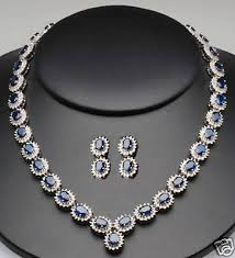 silver necklace with sapphire images Cluster design blue sappire necklace with earrings gleam jewels jpg