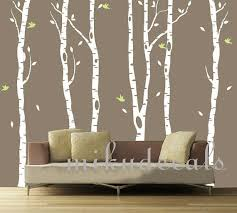 White Tree Wall Decal Nursery Vinyl Wall Decals White Tree Decal Nursery Six Birth Trees Birds