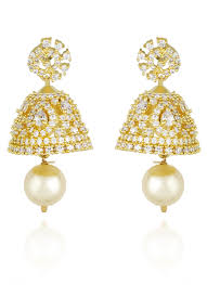 jhumka earrings online shopping buy gold n white jhumka earrings stones jhumka online