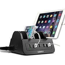 charging station phone amazon com usb charging station 5 port quick charger desktop