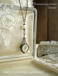 pearl monogram necklace typewriter key jewelry letter p necklace vintage