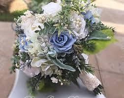 blue flowers for wedding silk flower bouquet etsy