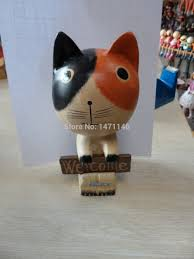 high quality wooden decoration material promotion shop for high cute cats diy material home decoration garden gnome crafts bonsai valentine s day children gifts