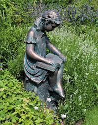 garden with reading bronze statue cleaning ways for your