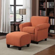 Armchair And Ottoman Handy Living Mira Orange Linen Arm Chair And Ottoman Free