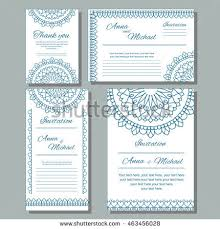 set wedding invitations postcards different sizes stock vector