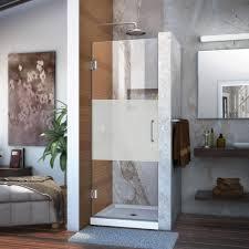 E Shower Door Dreamline Unidoor 27 In X 72 In Frameless Hinged Pivot Shower