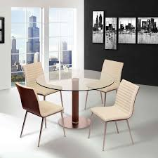brushed stainless steel dining chair in white pu with walnut back