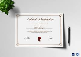participation certificate template 23 free word pdf psd