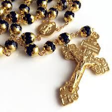 vatican rosary gold blue jade prayer vatican rosary italy cross catholic