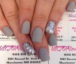 matte grey nails with silver glitter cute nails pinterest