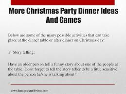 After Dinner Ideas More Christmas Party Dinner Ideas And Games
