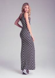 chevron maxi dress lyst bebe chevron maxi dress in black