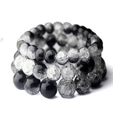 quartz crystal bracelet beads images Handmade black blasting crack quartz crystal bracelets natural jpg