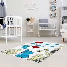 teppich f r kinderzimmer kinder teppich mit elefanten moda 5797 multi flachflor