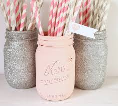 pink and silver baby shower painted jar blush pink and silver glitter jar
